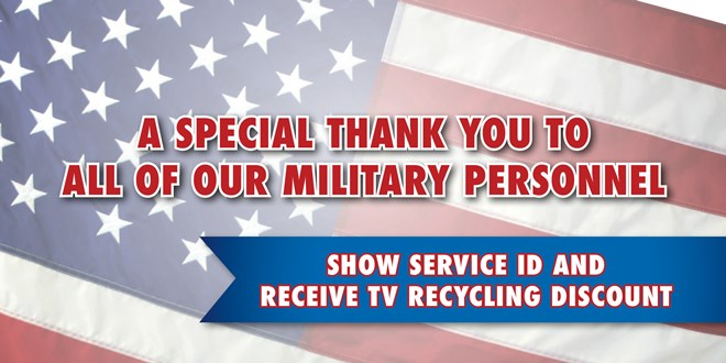 Military Discount for TV/monitor Recycling